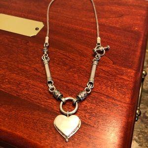Rare Silpada 925 Floral Heart Side Toggle Necklace